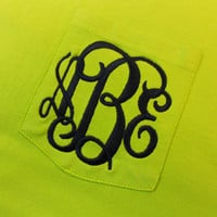 Monogram Long Sleeve Pocket Tee  Font Shown INTERLOCKING