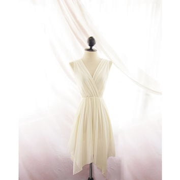 Jane Austen Cream Rehearsal Dinner Breakfast at Tiffany's Marie Antoinette High Low Hi Lo Romantic Great Gatsby 1920s Elven Chiffon Dress