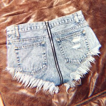 Zipper Back High Waisted Stoner Babe Shorts