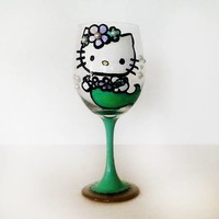 Hello Kitty Mermaid Wine Glass with rhinestones