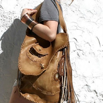 Brown leather hobo raw distressed mountain man bag boho possibles elvish larp black powder tote festival long hunter hide festival