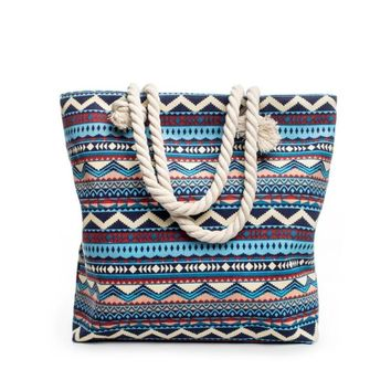 Printed Bohemian Style Women Canvas Shoulder Bag
