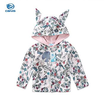 Cute Infant Baby Girls Clothing Long Sleeve Rabbit 3D Ear Floral Jacket Hoodie Warm Winter Hooded Coat Outerwear Hot Sale 0-24M