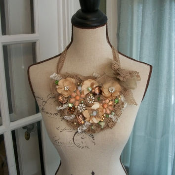 Romantic Bib Necklace - The Autumn Bride - Vintage Inspired Statement Bib Necklace with Repurposed Floral Findings, Satin Flowers and Lace