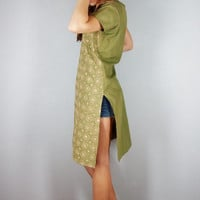 Moss Green Indian Tunic, Small Medium Large, boho chic Bohemian Blouse