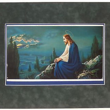 Morris Bendien Religious Lithograph Print Jesus Our Lord Mount of Olives VTG 30s