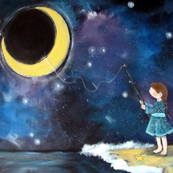 Original Nursery Art, Girl and Moon, Starry Night Sky, Acrylic Kids Wall Art, Large Artwork, Nursery Room Decor, Childrens Decor
