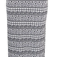 WOMENS BLACK AND WHITE AZTEC MAXI LONG SKIRT SIZE 8 10 12 14 (STY)