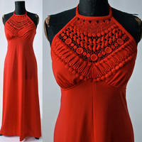 Vintage Vibrant Orange Red Halter Maxi Dress 1970's Polyester Crochet Neckline