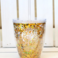 Gold Confetti Short Tumbler {10oz}