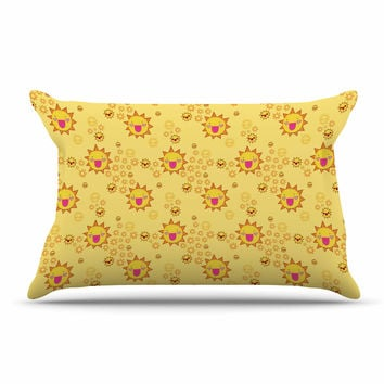 "Jane Smith ""It's All Sunshine"" Yellow Pattern Pillow Case"