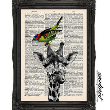 Unlikely Friendship Original Animal Collage Print on an Unframed Upcycled Bookpage