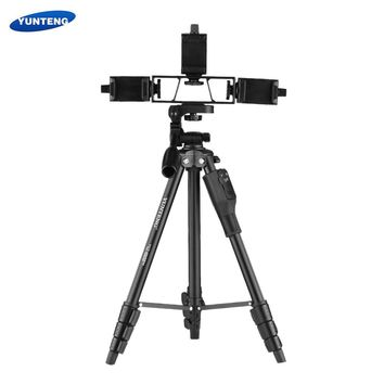 YUNTENG VCT-6808 Multi-functional Tripod for Phone with 3 Phone Holders 4-Section Telescoping Tripod Ball Head Remote Controller