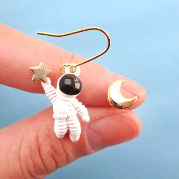 Enamel Astronaut and Crescent Moon Shaped Earrings | Space Travel Themed Jewelry