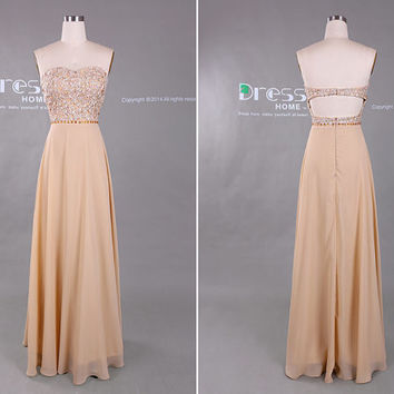 Sweet 16 Champagne Prom Dresses/Long Sweetheart Prom by DressHome