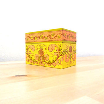 Vintage Metal Recipe Box / Matchbox Holder / Yellow Tin Box / Floral Match Holder