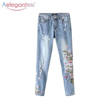 Aelegantmis 2017 Fall Ripped Floral Embroidery Jeans Women Ethnic Autumn Casual Flower Embroidered Denim Pants Ladies Blue New