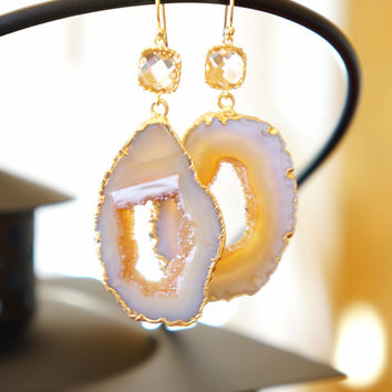 Champagne Pearl Agate Geode Earrings, Agate Earrings, Agate Druzy Earrings, Druzy Geode