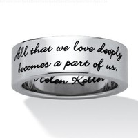 PalmBeach Jewelry Stainless Steel Enamel-Finish Inspirational Helen Keller Message Band Ring:Amazon:Jewelry