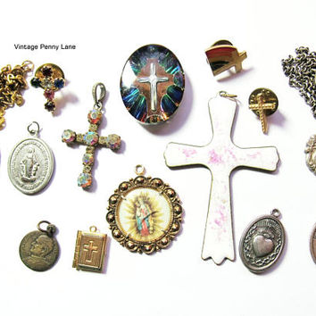 Vintage Religious Jewlry, Pendant, Medal, Charm, Pin, Necklace Lot