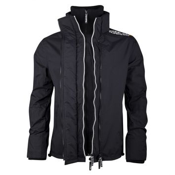 Superdry MS5IL052F2 Technical Pop Zip Mens Windcheater Black/Chalk - Superdry from Hype Direct UK