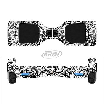 The White and Black Flower Illustration Full-Body Skin Set for the Smart Drifting SuperCharged iiRov HoverBoard