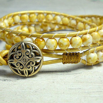 Cream Colored Double Wrap Bracelet, Wrap Bracelet, Wrap Around, Bead Bracelet