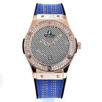 Hublot men and women fashion trendy quartz watch F Blue