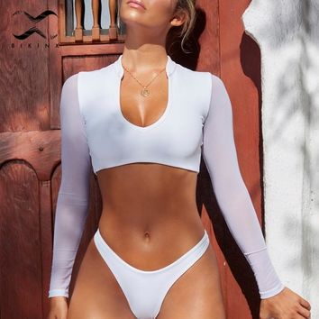 Bikinx White long sleeve bikini set 2018 High cut brazil swimsuit female Thong bathing suit women bathers Micro bikini crop top