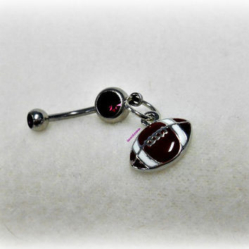 Purple Football Belly Ring, Trending Belly Ring, Sports Belly Ring, Football Piercing, Athletic, Athlete, Navel, Belly Button, Fall