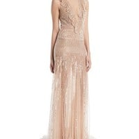Monique Lhuillier Deep-V Sleeveless Beaded-Striped Evening Gown w/ Ruffle Detail