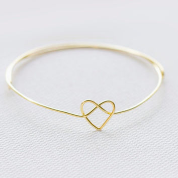 Heart Knot Bangle/ Adjustable/Heart Tie The Knot Bangle/Bridesmaid Bracelet/Friendship Bracelet/Save The Date