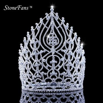 Rhinestone Wedding Crown Tiara Papal Elegant Cosplay Renaissance