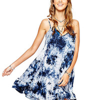 Strappy V-neck Printed A-Line Mini Dress