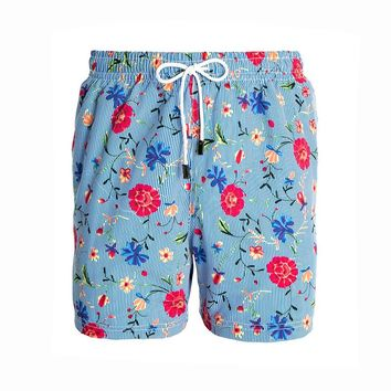 98 Coast Av Floral Stripes Trunks Blue