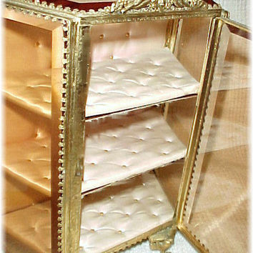 1860s French - Gilt Heavy Beveled Glass Angel Ormolu Jewelry Casket Cabinet Box - Victorian
