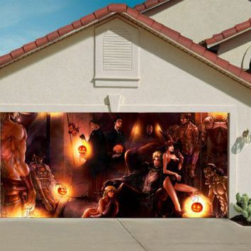 Halloween Garage Door Cover Decor Night Party Billboard Outside Decoration for Garage Door Halloween Decorations