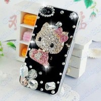 Hot Selling Fashion Bling Crystal Hello Kitty Case Cover For Apple iphone 4 4s 4G Rhinestone Plastic Back Skin Shell
