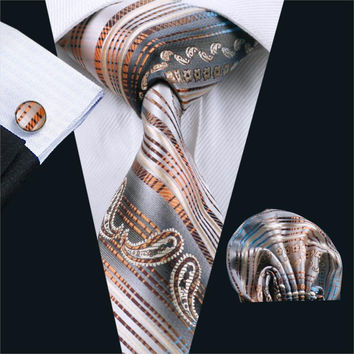 Ties For Men Tie Novelty Silk Jacquard Woven classic Tie Hanky Cufflinks Set For Men Business Wedding Party