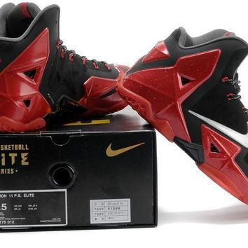 lebron 11 xi p s elite black red sneaker shoe