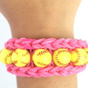 Softball Pink Bracelet Rainbow Loom Handmade Rubber Bands Customize with Team Colors
