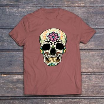 skull with flowers, halloween tees, halloween party, halloween costumes, halloween skeleton, halloween tee, t shirt, graphic tees, graphic