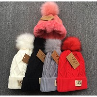 UGG Autumn Winter Warm Trending Women Men With Small Ball Wool Thick Knit Hat Cap(6-Color)