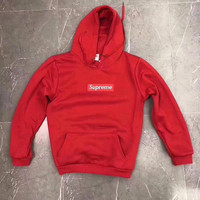 Supreme Fashion Embroidered Red Hooded Sweater