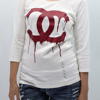 CHANEL Dripping Coco CHANEL Uniqlo UV Cut T Shirt 3/4 long sleeve white women size L handmade silk screen printing