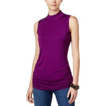 INC Womens Ruched Mock Turtleneck Tank Top