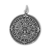 "Sterling Silver Aztec Calendar Pendant 26MM (Free 18"" Chain)"