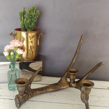 Metal Antler Candle Holder/ Antler Candle Holder/ Antlers/ Rustic Decor/ Rustic Candle Holder/ Cabin Decor/ Deer Antler/ Antler Decor