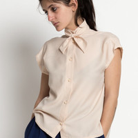 Vintage 80s Pale Pink Cap Sleeve Blouse with Necktie | M