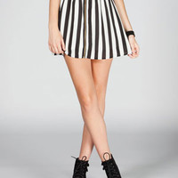 Full Tilt Bold Stripe Zip Front Skirt Black/White  In Sizes